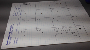 Photo of parts laid out on sheet of paper